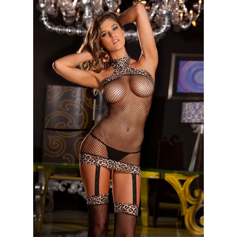 Halter Fishnet Dress with Built in Thigh High OS  (Leopard)