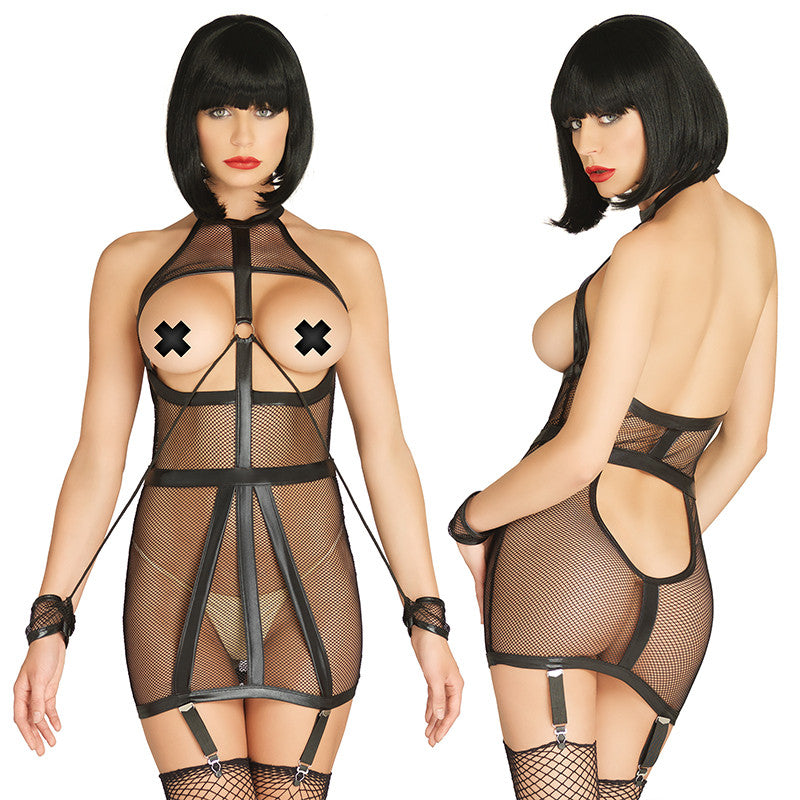 Wet Look Fishnet Open Cup Bondage Garter Dress with O-Ring Attached Restraint Cuffs Small-Medium and Medium-Large  (Black)