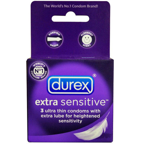 Durex Extra Sensative Lubricated Latex Condoms  (3 Pack)