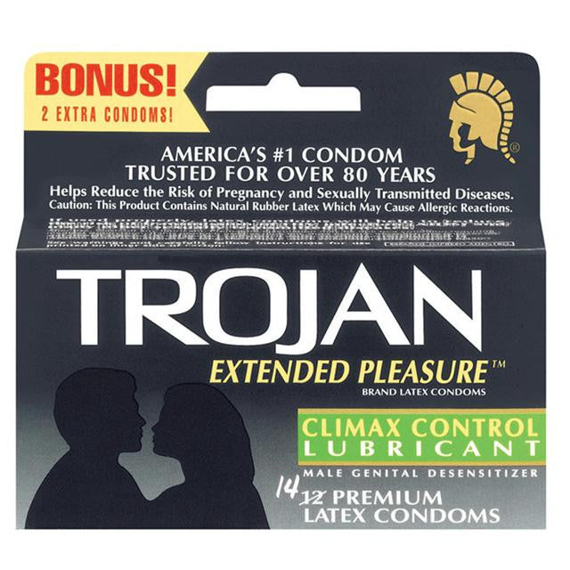 Trojan Extended Pleasure Condoms with Climax Control Lubricant 14 Pack