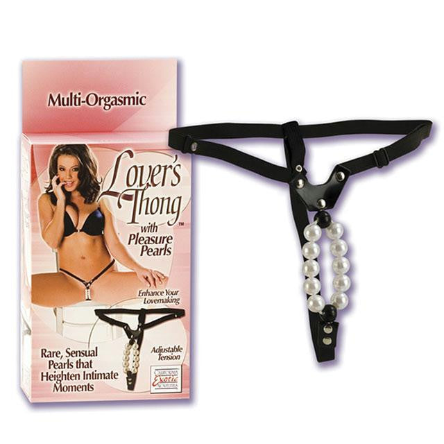 Lovers Thong with Pleasure Pearls OS  (Black)
