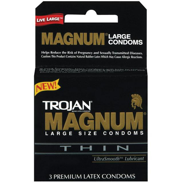 Trojan Magnum Thin Large Size Condoms with UltraSmooth Lubricant 3 Pack or 12 Pack