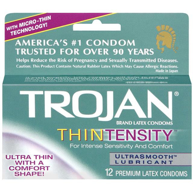 Trojan Thintensity Latex Condoms with UltraSmooth Lubricant 12 Pack