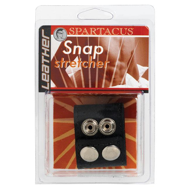 Leather Ball Stretcher with Snaps 1.5 Inches  (Black)