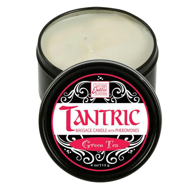 Tantric Soy Massage Candle with Pheromones 4 Ounces  (Green Tea, Pomegranate Ginger, and White Lavender)