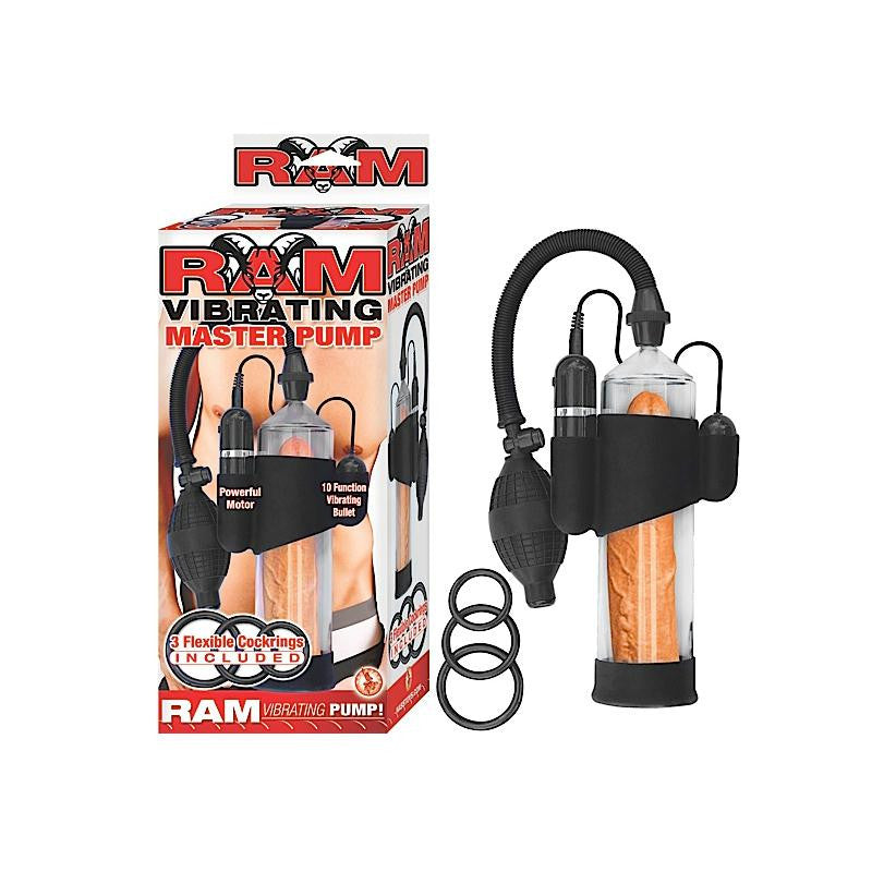 Ram Vibrating Master Pump with Bullet and 3 Cock Rings  (Clear)