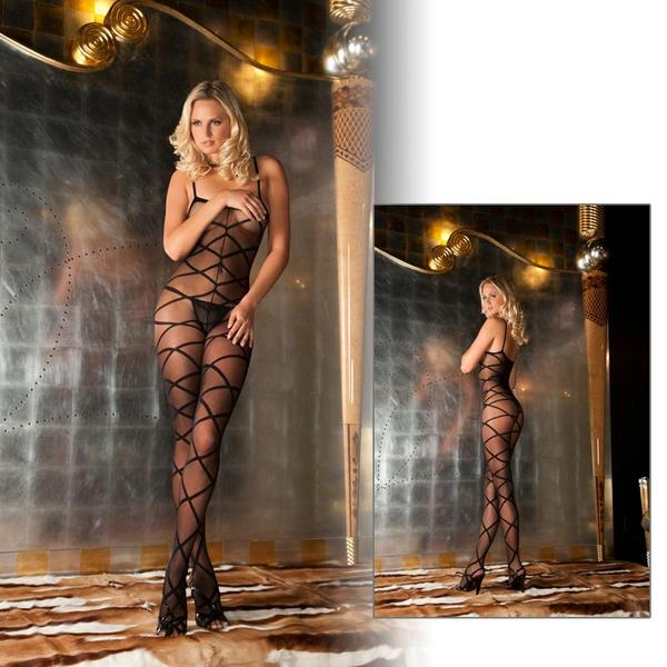 Strapped Up Sheer Bodystocking OS  (Black, Red and White)