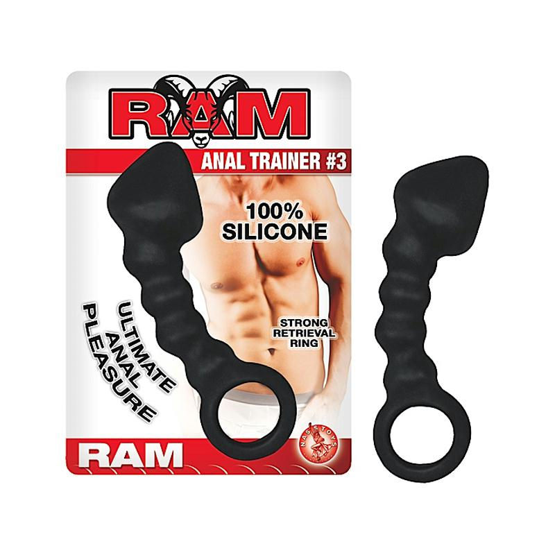 Ram Anal Trainer #3 4 Inch Silicone Rippled Anal Plug with Head and Retrieval Ring  (Black and White)