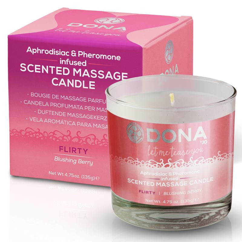 Dona Soy Massage Candle 4.75 Ounces  (Flirty -  Blushing Berry, Naughty -  Sinful Spring, and Sassy - Tropical Tease)
