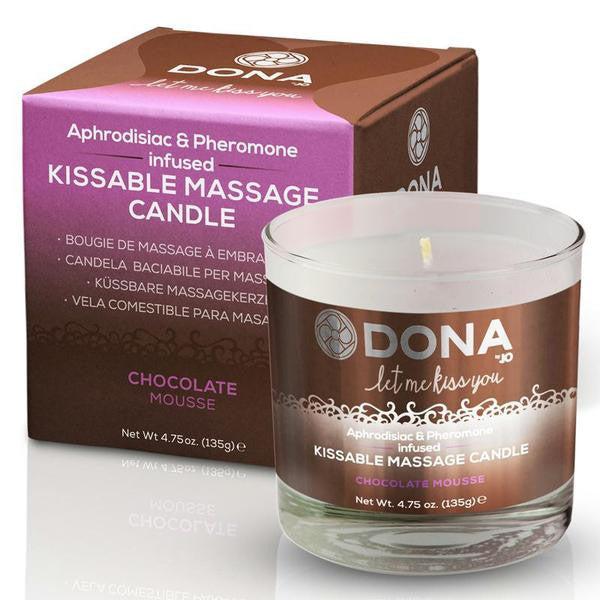 Dona Kissable Soy Massage Candle Net Weight 4.75 Fluid Ounces  (Chocolate Mousse, Strawberry Soufflé, and Vanilla Buttercream)