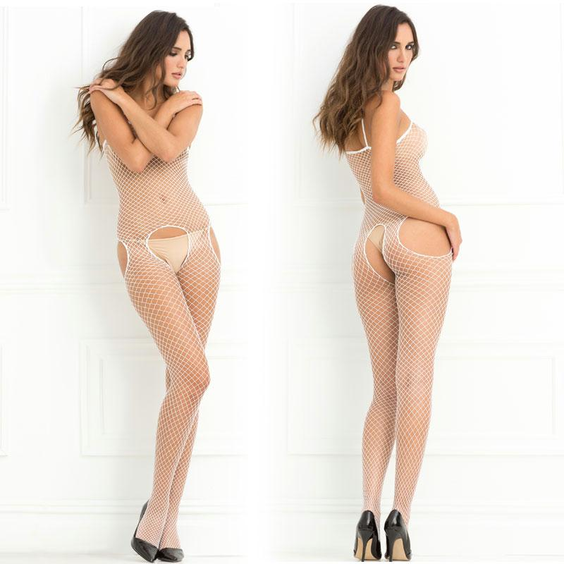 Crotchless Industrial Net Suspender Bodystocking O-S  (White)