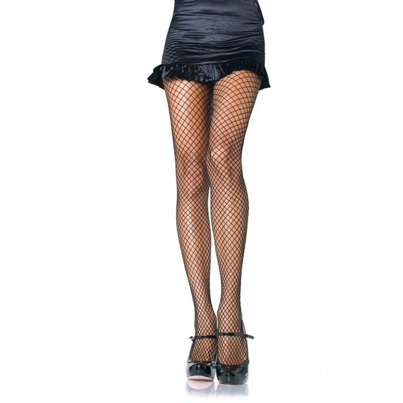 Lycra Fishnet Pantyhose OS and 1X-2X  (Black)