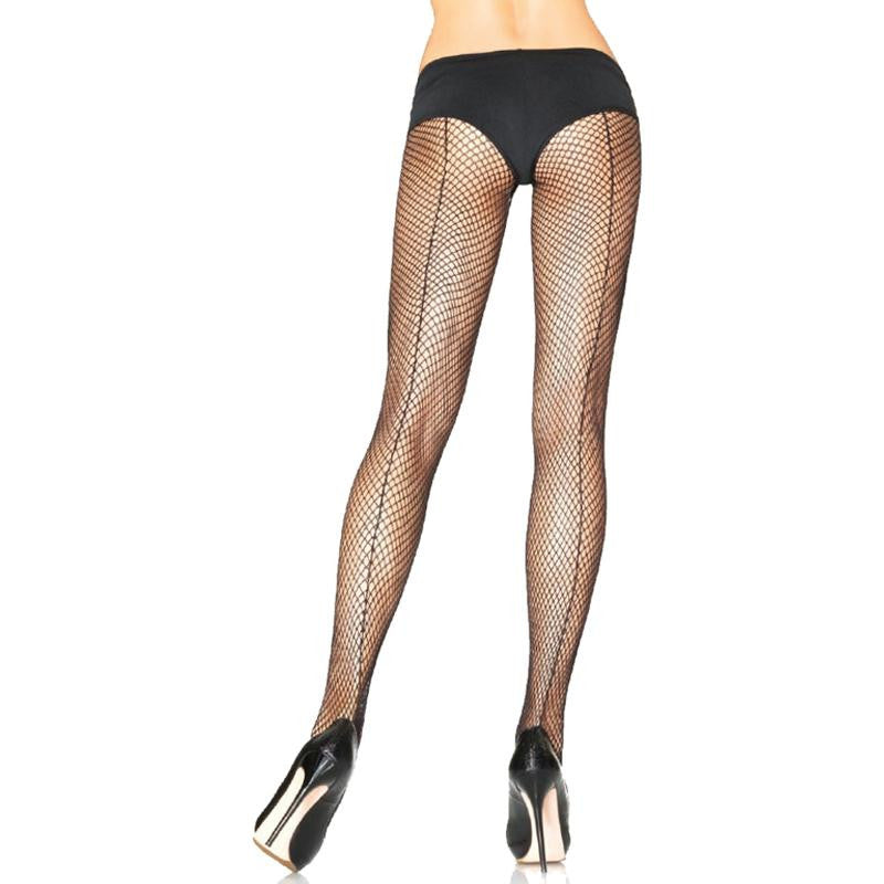 Fishnet with Backseam Pantyhose OS and Plus Size  (Black)