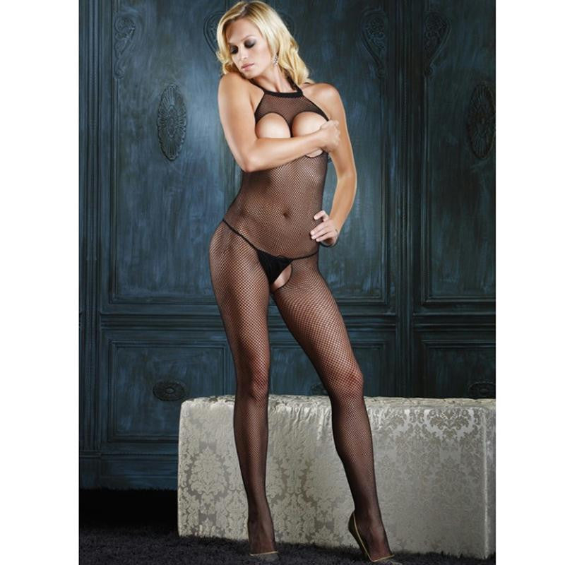 Seamless Fishnet Halter Bodystocking with Open Bust and Crotch OS  (Black)