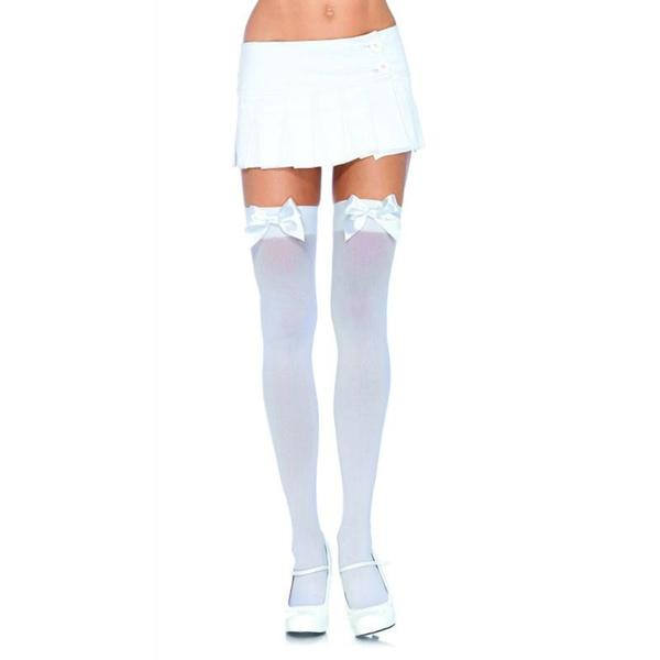 Nylon Over the Knee Thigh High with Bow Plus Size  (Black and White)