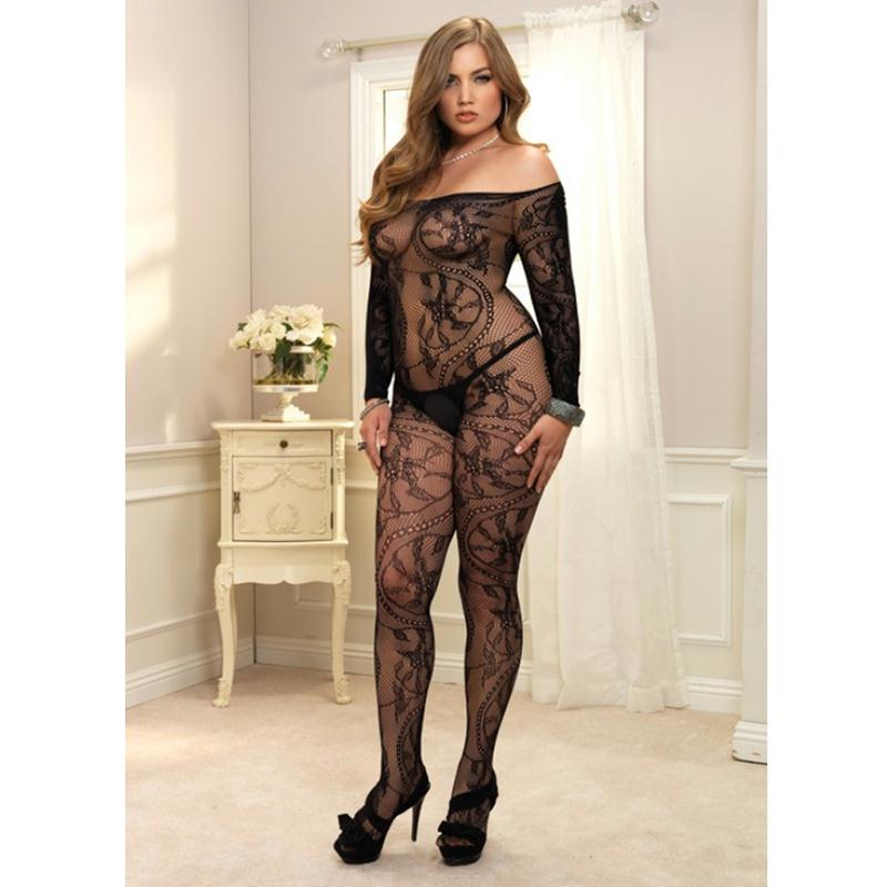 Spiral Lace off the Shoulder Long Sleeved Bodystocking Plus Size  (Black)