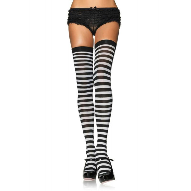 Nylon Over the Knee Thigh High with Stripe OS  (Black-White and Red-White)