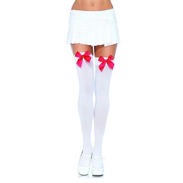 Nylon Over the Knee Thigh High with Bow OS  (Black, Black-Red, Black-White, Red, White, White-Black, and White-Red)