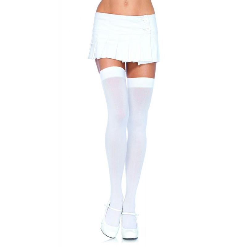 Nylon Over the Knee Thigh High OS and Plus Size  (White)