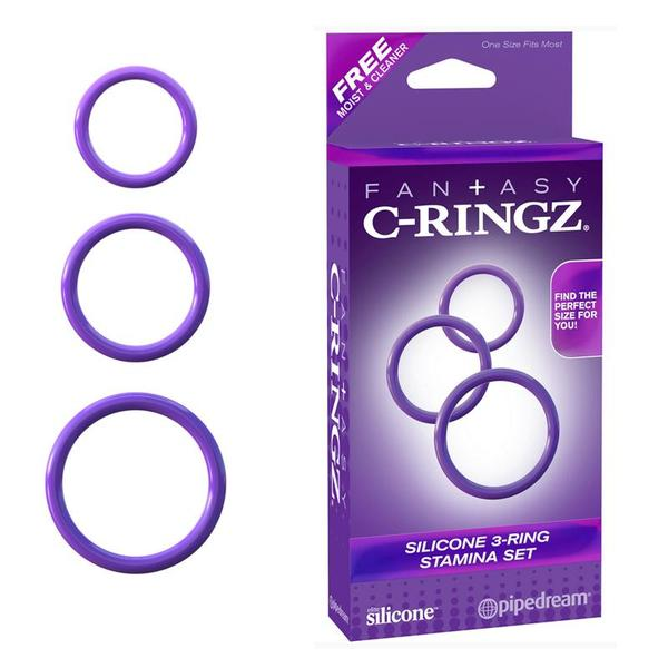 Fantasy C-Ringz Silicone 3 Ring Stamina Set  (Black and Purple)