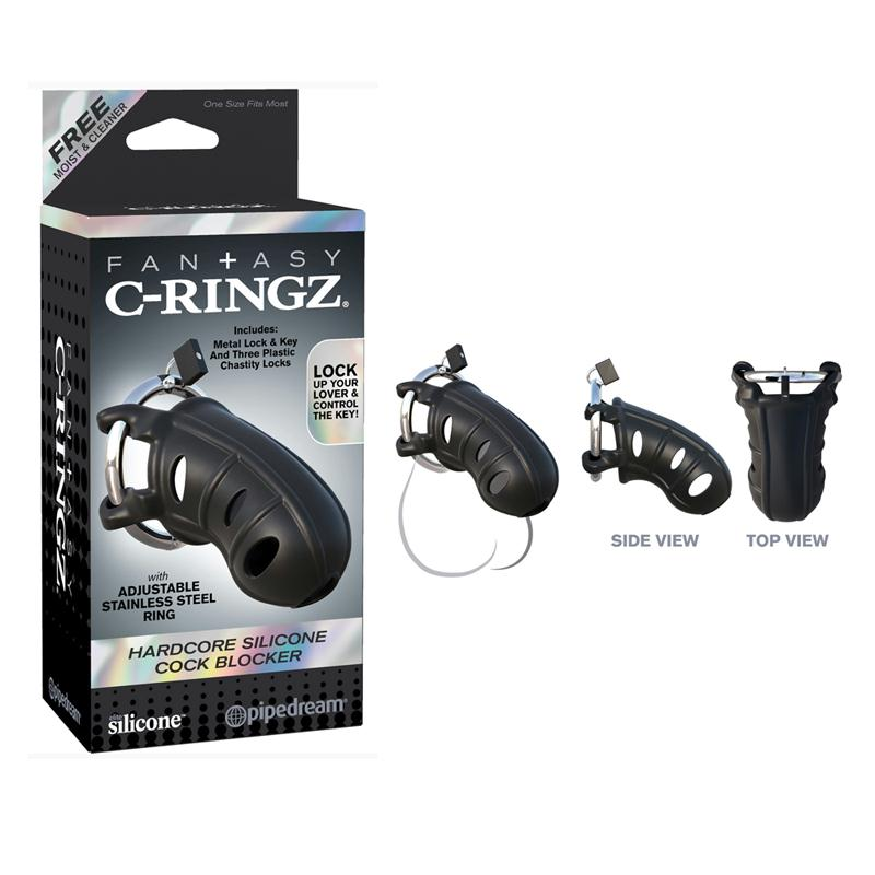 Fantasy C-Ringz Hardcore Silicone Cock Blocker  (Black)