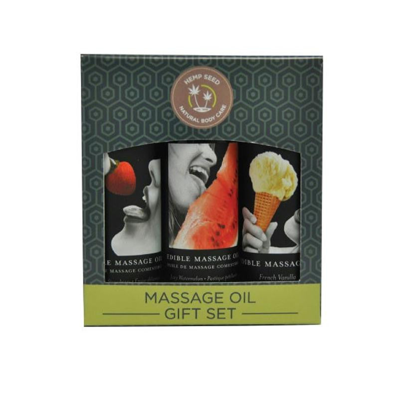 Earthly Body Edible Gift Set with 2 Ounce Massage Oils  (Strawberry, Vanilla, and Watermelon)