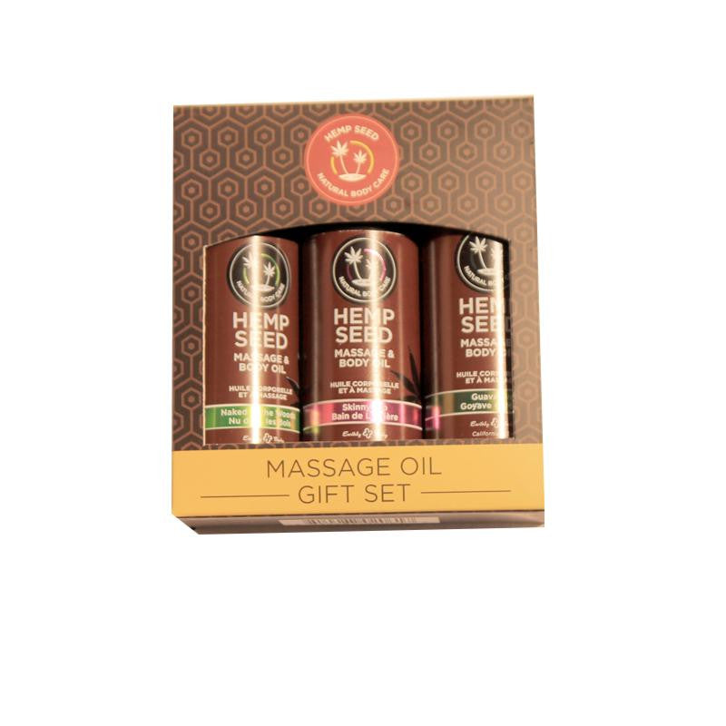 Earthly Body Massage Oil Gift Set 2 Ounces Each  (Skinny Dip, Guavalava and Naked in the Woods)