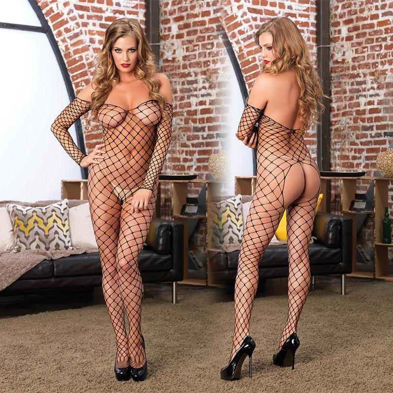 Fence Net Off the Shoulder Bodystocking OS  (Black)