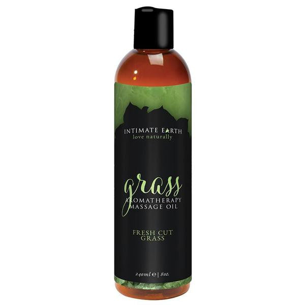 Intimate Earth Massage Oil 4 Ounces and 8 Ounces  (Fresh Cut Grass)