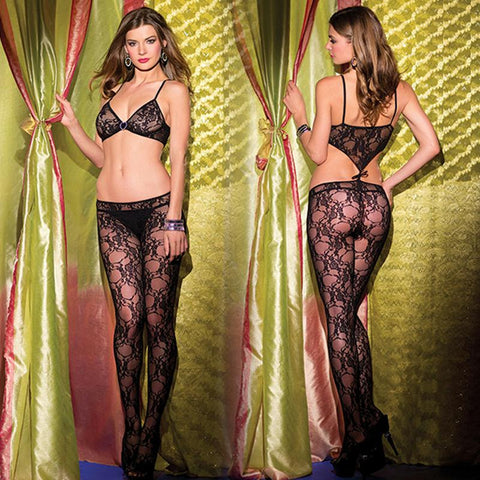 1 Piece Lace Crotchless Bodystocking Queen Sized  (Black)