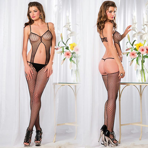 1 Piece Warning Net Bodystocking with Suspender Cut Out Front and Open Back Queen Sized  (Black)