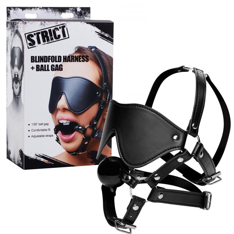 Strict Eye Mask Harness with Ball Gag  (Black)