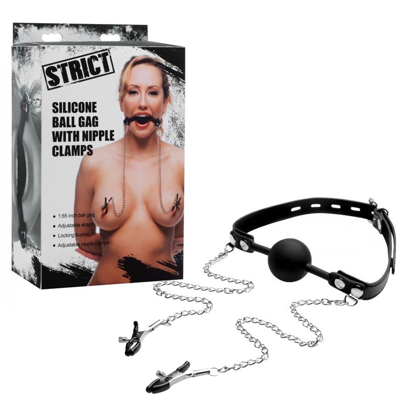 Strict Silicone Ball Gag with Nipple Clamps  (Black)