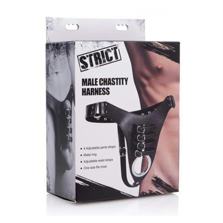 Strict Male Chastity Harness  (Black)