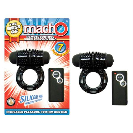 The Best of Macho 7 Function Wireless Remote Control Cock Ring  (Black)