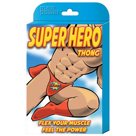 Male Power Novelty Super Hero Thong OS  (Black)