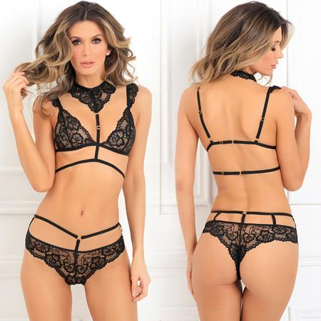 2 Piece That's Rich Choker Bra Set Small-Medium and Medium-Large  (Black)