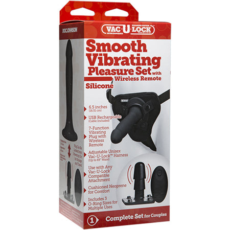 Vac-U-Lock Smooth Vibrating Pleasure Set  (Black)