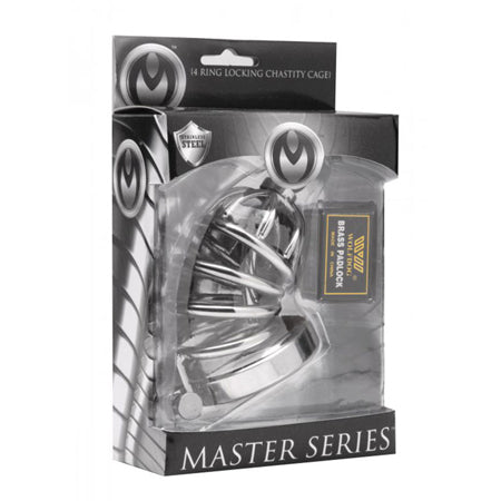 Masters Series Asylum 4 Ring Locking Chastity Cage Small
