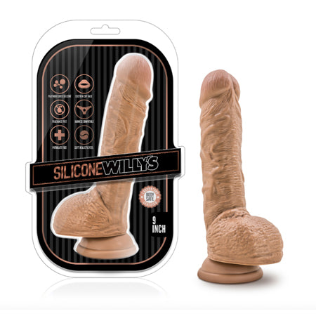 Silicone Willy's 9 Inch Silicone Dildo with Suction Cup  (Mocha)