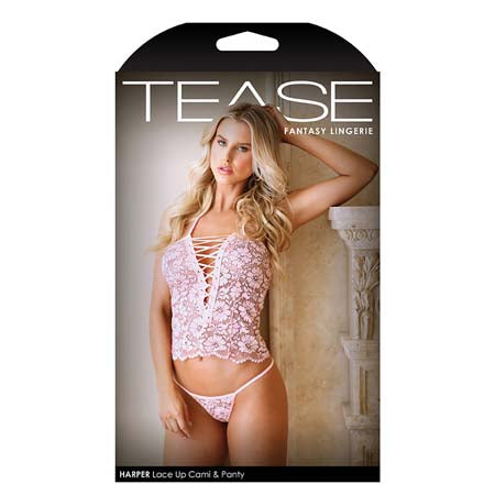 Tease Harper Lace up Cami and Panty L-XL