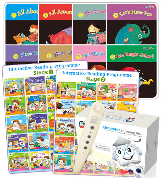 Interactive Reading Programme Stage 1 and 2 + Magic Fun Book 1 to 8 + EtutorStar Learning Pen