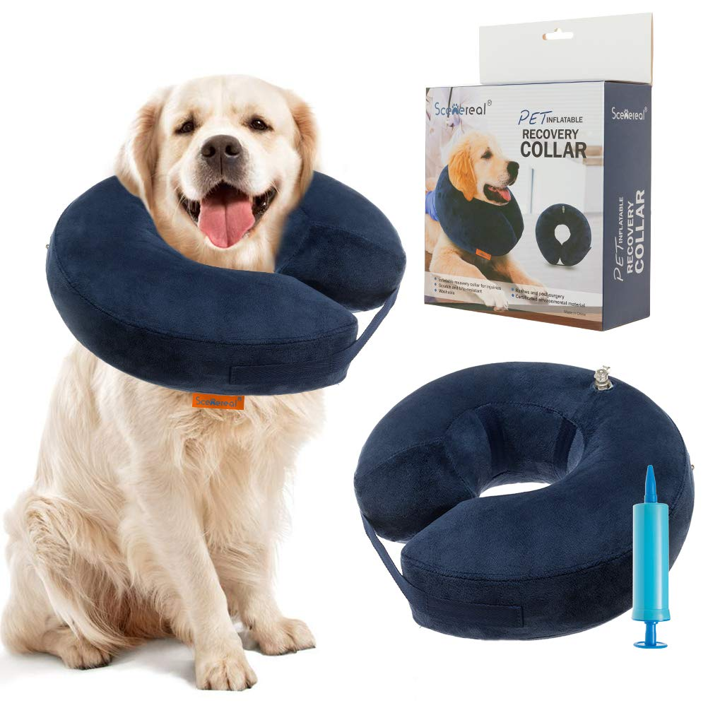 SCENEREAL Inflatable Recovery Collar for Dogs & Cats - Surgery Dog Collars E-Collar for Preventing Pets from Biting Licking Wound - Hoverboardmall