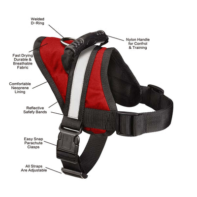 Pawsroad Big Dog Soft Reflective No Pull Harness Red Detail
