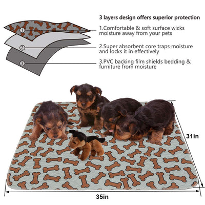 "BINGPET 2 Pack Reusable Pee Pads Dogs 31"" 35"" Washable Puppy Pad - Hoverboardmall"