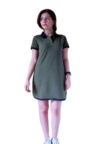 Olive Green Classic polo Dress