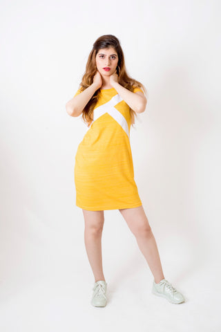 Yellow logo detailed dress