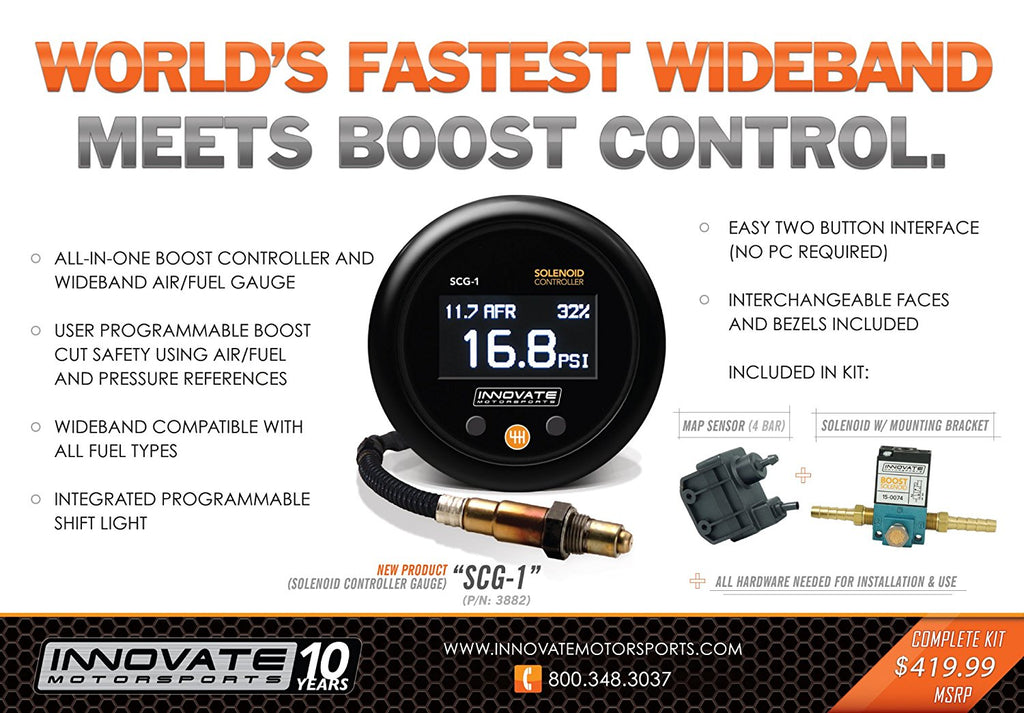 INNOVATE SCG-1: Electronic Boost Controller & Wideband Air Fuel Ratio Gauge