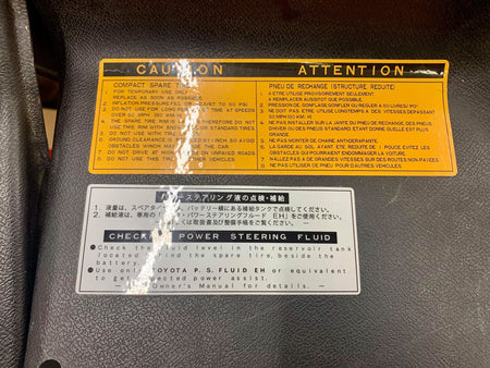 MR2 SW20 Frunk Cover Warning Labels