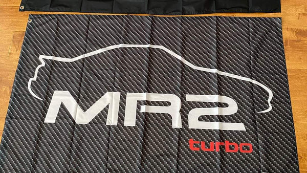 "Carbon Fiber ""MR2 Turbo"" Silhouette Logo 3'x5' Automotive Flag"